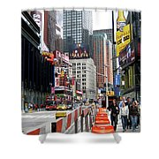 Amidst Color And Construction In Times Square Shower Curtain