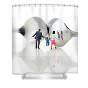 Family In Front Of Spoon Distoring Mirrors II Shower Curtain