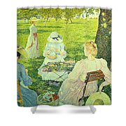 Family In The Orchard Shower Curtain