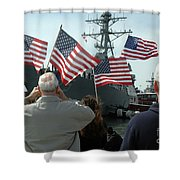 Family Members Wave Flags To Show Shower Curtain