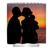 Family Silhouettes At Sunset Shower Curtain