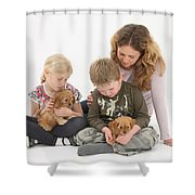 Family With Cockerpoo Pups Shower Curtain