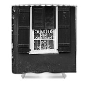 Famous New Orleans Po Boys Neon Window Sign Black And White Accented Edges Digital Art Shower Curtain