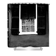 Famous New Orleans Po Boys Neon Window Sign Black And White Conte Crayon Digital Art Shower Curtain