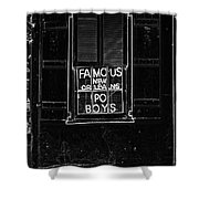 Famous New Orleans Po Boys Neon Window Sign Black And White Glowing Edges Digital Art Shower Curtain