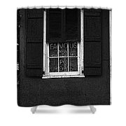 Famous New Orleans Po Boys Neon Window Sign Black And White Poster Edges Digital Art Shower Curtain