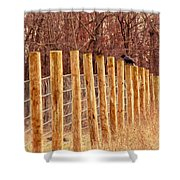 Farm Fence And Birds Shower Curtain