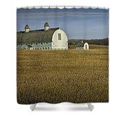Farm Scene With White Barn Shower Curtain