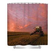 Farmer Harvesting Oat Crop Shower Curtain