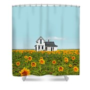 Farmhouse In A Field Of Sunflowers Shower Curtain