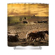 Farming Rain Race Shower Curtain