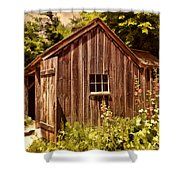 Farming Shed Shower Curtain by Lourry Legarde