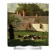 Farmyard Scene Shower Curtain by Winslow Homer