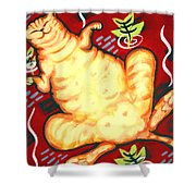 Fat Cat On A Cushion - Orange Cat Shower Curtain