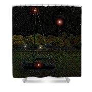 Fat Moon Bay Shower Curtain