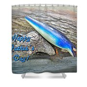 Fathers Day Greeting Card - Vintage Floyd Roman Nike Fishing Lure Shower Curtain