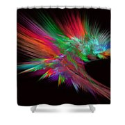 Feathery Bouquet On Black - Abstract Art Shower Curtain