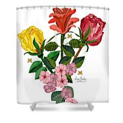 February 2012 Roses And Blooms Shower Curtain