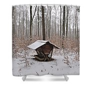 Feed Box In Winterly Forest Shower Curtain