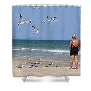 Feeding The Sea Gulls Shower Curtain