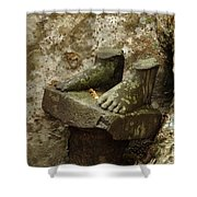 Cambodia Carved Feet Shower Curtain