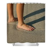 Feet In The Wet Sand Of A Beach Wait Shower Curtain