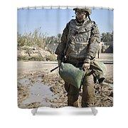 Female Airman Carries A Sandbag Shower Curtain
