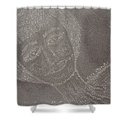 Female  Face  On  Steel  Two Shower Curtain