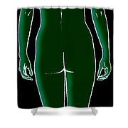 Female, Full Posterior View Shower Curtain