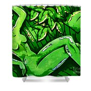 Female On A Mardi Gras Float Painted Shower Curtain