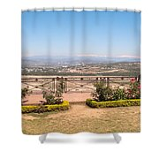 Fence And Garden Overlooking A Beautiful Vista Of Valley And Snow-capped Mountains Shower Curtain