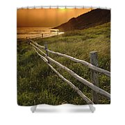 Fence And Sunset, Gooseberry Cove Shower Curtain