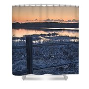 Fence By Lake At Sunset Shower Curtain