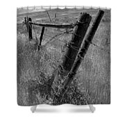 Fence Posts And Barbed Wire At The Edge Of A Field In Montana Shower Curtain