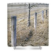 Fenceline And Cropland In Late Fall Shower Curtain by Darwin Wiggett