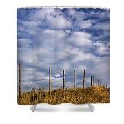 Fenceline In Pasture With Cumulus Shower Curtain by Darwin Wiggett
