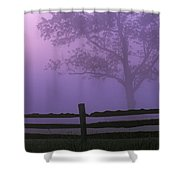 Fenceline Silhouette With Tree Shower Curtain