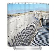 Fences Shadows And Sand Dunes Shower Curtain