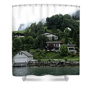 Few Houses On The Slope Of Mountain Next To Lake Lucerne In Switzerland Shower Curtain