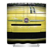Fiat 500 Yellow With Racing Stripe Shower Curtain