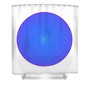 Fibonacci Figure With White Elements On Blue Shower Curtain
