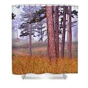 Field Pines And Fog In Shannon County Missouri Shower Curtain
