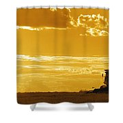 Field With Combine At Sunset Shower Curtain