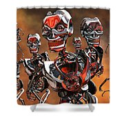Fierce Androids Riot The City Of Tokyo Shower Curtain by Mark Stevenson