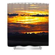 Fiery Sunrise Over The Cascade Mountains Shower Curtain