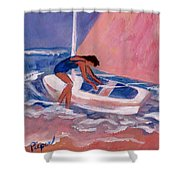 Fighting To Sail Shower Curtain