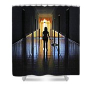 Figure In The Corridor Shower Curtain