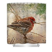 Finch Greeting Card With Verse Shower Curtain