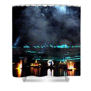 Fire Earth Water Meet Lasers Shower Curtain