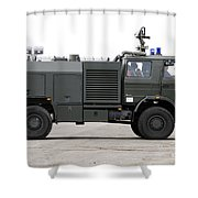 Fire Engine Of The Belgian Army Located Shower Curtain by Luc De Jaeger